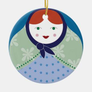 Ornamento del árbol de navidad de Matryoshka Adorno Navideño Redondo De Cerámica