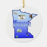 Ornamento del árbol de navidad de Minnesota Adorno Navideño Redondo De Cerámica