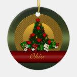 Ornamento del árbol de navidad de Ohio Adorno Navideño Redondo De Cerámica