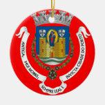 Ornamento del árbol de navidad de Porto* Portugal Adorno Redondo De Cerámica