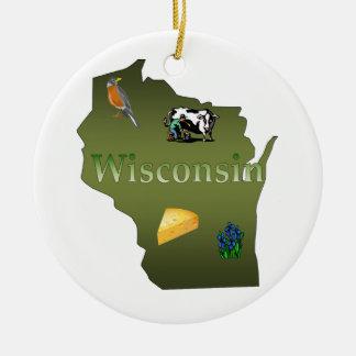 Ornamento del árbol de navidad de Wisconsin Adorno Navideño Redondo De Cerámica