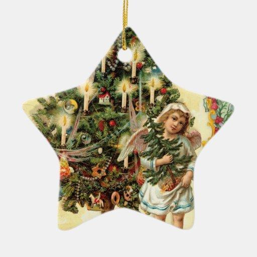 Ornamento del árbol de navidad del ángel del adorno de cerámica en forma de estrella