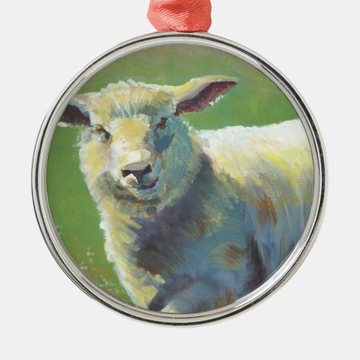 Ornamento del árbol de navidad del animal del adorno redondo plateado