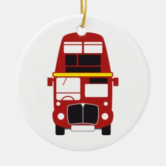 Ornamento del árbol de navidad del autobús de dos adorno navideño redondo de cerámica