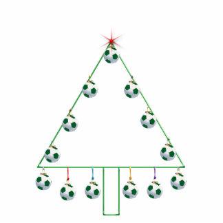 Ornamento del árbol de navidad del balón de fútbol escultura fotografica