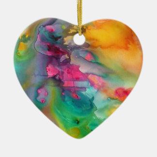 Ornamento del árbol de navidad del corazón del adorno navideño de cerámica en forma de corazón