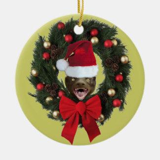 Ornamento del árbol de navidad del gorra de Santa Adorno Navideño Redondo De Cerámica