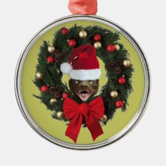 Ornamento del árbol de navidad del gorra de Santa Adorno Navideño Redondo De Metal