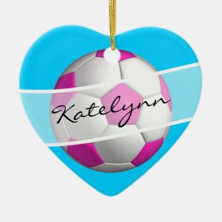 Ornamento del árbol de navidad del jugador de adorno navideño de cerámica en forma de corazón