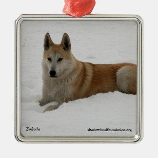 Ornamento del árbol de navidad del lobo adorno navideño cuadrado de metal