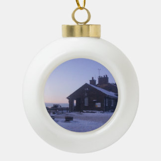 Ornamento del árbol de navidad del mesón del gato adorno de cerámica en forma de bola