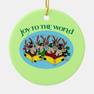Ornamento del árbol de navidad del reno de los adorno navideño redondo de cerámica
