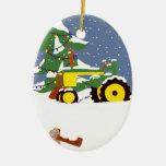 Ornamento del árbol de navidad del tractor ornamento de navidad