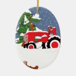 Ornamento del árbol de navidad del tractor ornatos