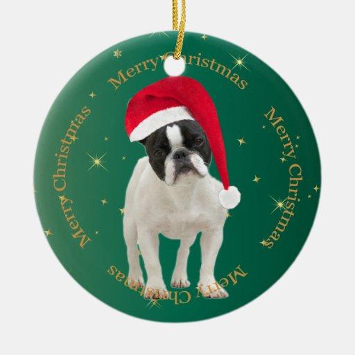 Ornamento del árbol de navidad del verde del perro adorno redondo de cerámica