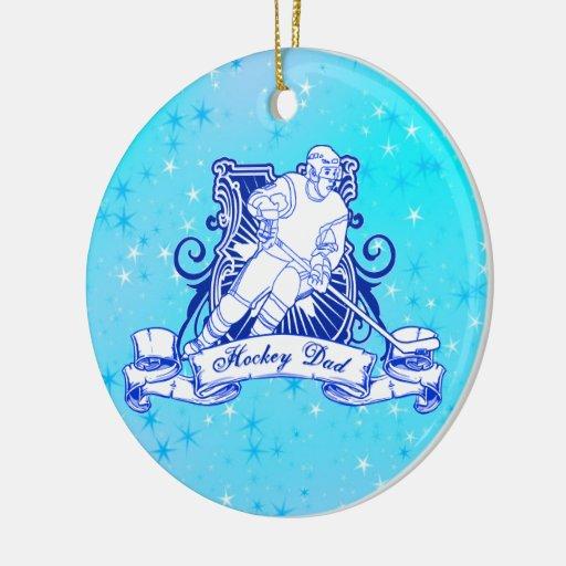 Ornamento del árbol de navidad, papá del hockey adorno