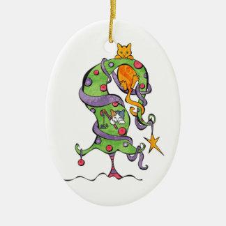 Ornamento del árbol del gatito adorno ovalado de cerámica