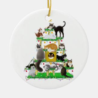 Ornamento del árbol del gato del navidad adorno navideño redondo de cerámica