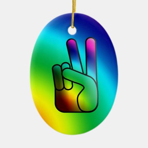 Ornamento del arco iris de la muestra de la mano adorno ovalado de cerámica