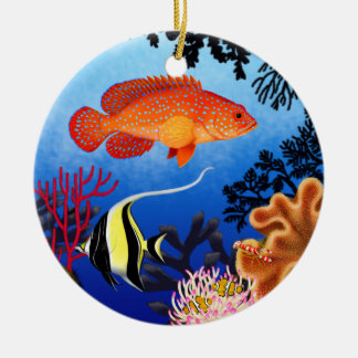 Ornamento del arrecife de coral del mero de adorno redondo de cerámica