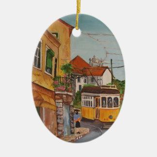 ornamento del arte adorno navideño ovalado de cerámica