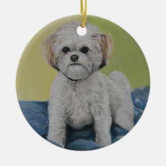 Ornamento del arte de Bailey Bichon/shihtzu Ornaments Para Arbol De Navidad