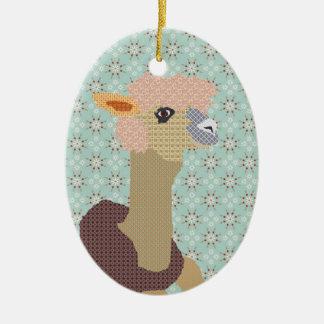 Ornamento del arte de la alpaca adorno navideño ovalado de cerámica