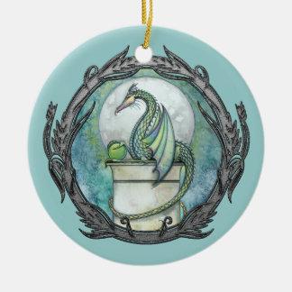 Ornamento del arte de la fantasía del dragón verde adorno navideño redondo de cerámica