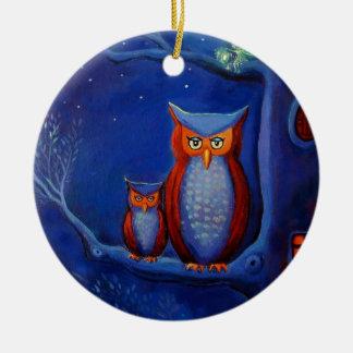 Ornamento del arte del búho - el bosque en Night Ornamente De Reyes