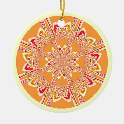 Ornamento del arte del fractal del naranja y de la adorno navideño redondo de cerámica