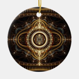 Ornamento del arte del fractal: Todo el ojo que ve Adorno Navideño Redondo De Cerámica