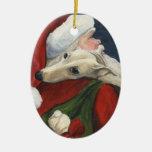 Ornamento del arte del galgo y del perro de Santa Adorno Navideño Ovalado De Cerámica