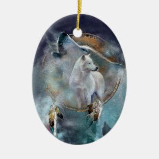 Ornamento del arte del lobo del alcohol adorno navideño ovalado de cerámica