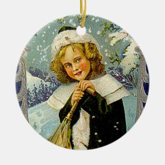 Ornamento del arte del navidad del Victorian del Adorno Navideño Redondo De Cerámica