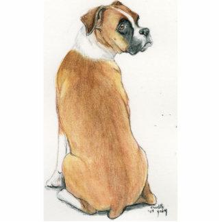 "Ornamento del arte del perro del ""boxeador tímido"" adorno fotoescultura"