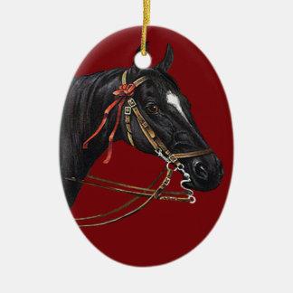 Ornamento del arte del vintage del caballo adorno navideño ovalado de cerámica