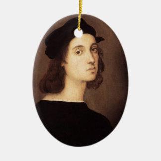 Ornamento del autorretrato de Raphael Adorno Navideño Ovalado De Cerámica