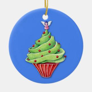 Ornamento del azul de la magdalena del árbol de adorno navideño redondo de cerámica