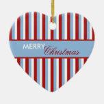 Ornamento del azul de las rayas del navidad adorno