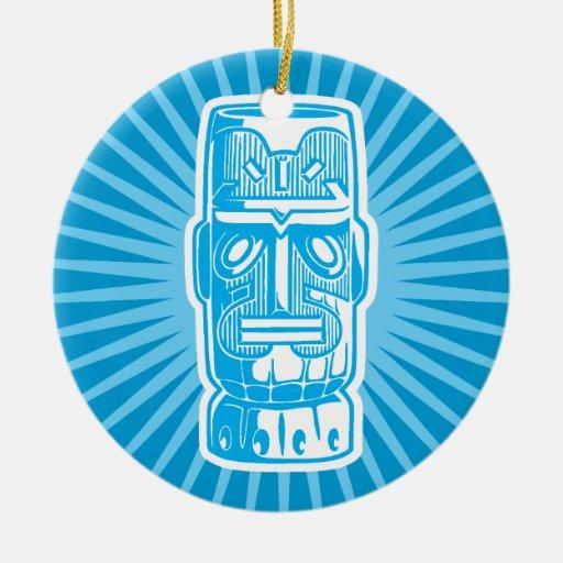 Ornamento del azul de Tiki Ornamentos De Navidad