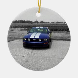 Ornamento del azul del coche del músculo adorno redondo de cerámica