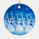 Ornamento del ballet - danza de los copos de nieve adorno navideño redondo de cerámica