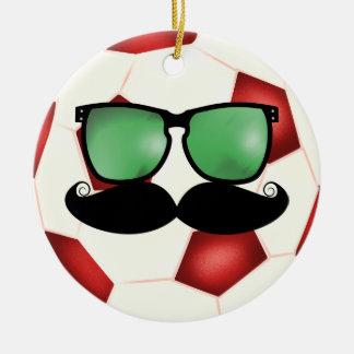 Ornamento del balón de fútbol del bigote adorno navideño redondo de cerámica