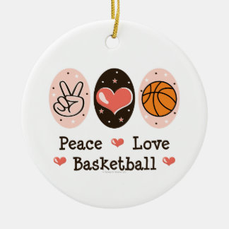 Ornamento del baloncesto del amor de la paz adorno navideño redondo de cerámica