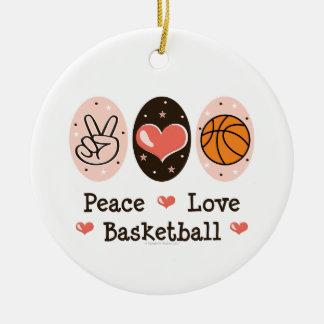 Ornamento del baloncesto del amor de la paz adorno redondo de cerámica