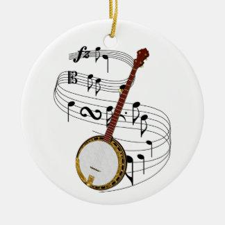 Ornamento del banjo adorno navideño redondo de cerámica