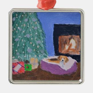 Ornamento del beagle adorno navideño cuadrado de metal