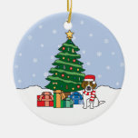 Ornamento del beagle adorno navideño redondo de cerámica