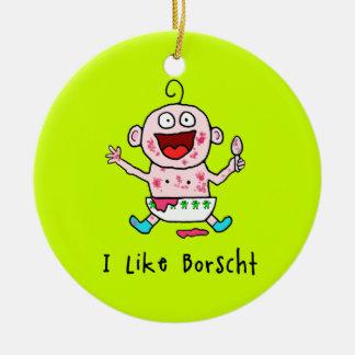 Ornamento del bebé del Borscht Adorno Navideño Redondo De Cerámica