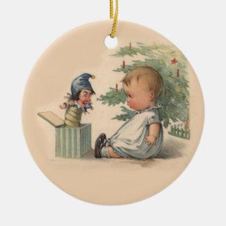 Ornamento del bebé del navidad adorno redondo de cerámica